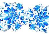 Кухонный фартук ХДФ Голубые узоры