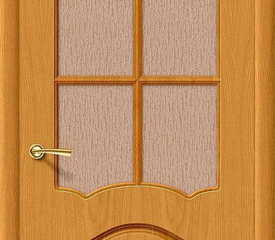 Дверь межкомнатная шпонированная «Каролина» ДубНат остекление Бронза